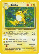 14/102 Raichu Holo Rare Base Set Unlimited MODERATE PLAYED - The Feisty Lizard Melbourne Australia