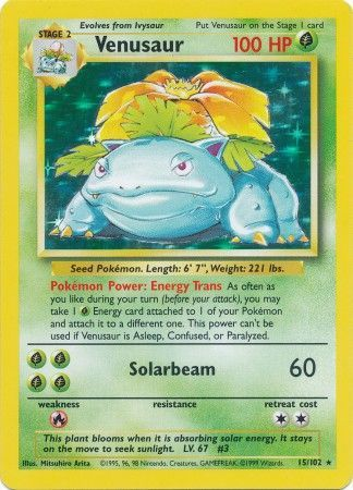 15/102 Venusaur Holo Rare Base Set Unlimited - The Feisty Lizard