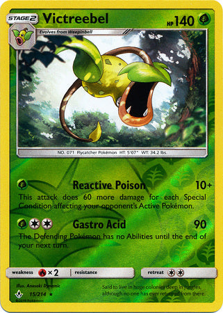 15/214 Victreebel Rare Reverse Holo Unbroken Bonds - The Feisty Lizard