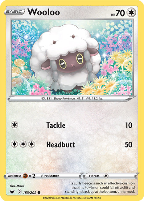 153/202 Wooloo Common Sword & Shield Base Set - The Feisty Lizard Melbourne Australia