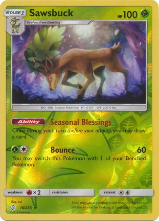 16/236 Sawsbuck Rare Holo Reverse Holo Cosmic Eclipse - The Feisty Lizard