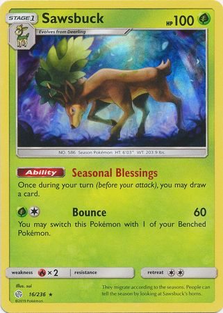 16/236 Sawsbuck Rare Holo Cosmic Eclipse - The Feisty Lizard Melbourne Australia