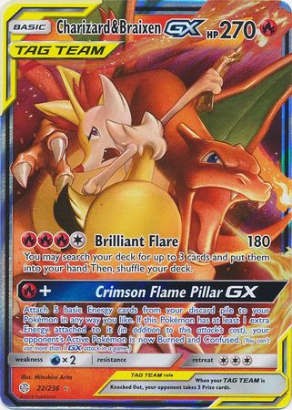 22/236 Charizard & Braixen GX Tag Team Ultra Rare Cosmic Eclipse - The Feisty Lizard Melbourne Australia