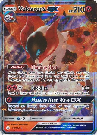 35/236 Volcarona Gx Ultra Rare Cosmic Eclipse - The Feisty Lizard Melbourne Australia