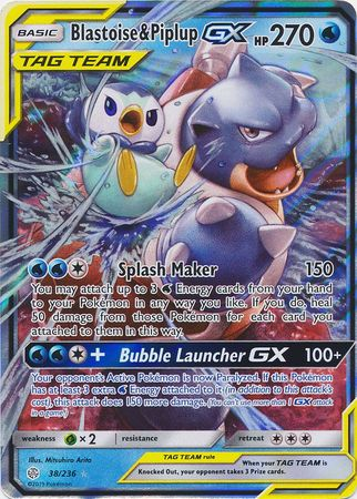38/236 Blastoise & Piplup Gx Tag Team Ultra Rare Cosmic Eclipse - The Feisty Lizard Melbourne Australia