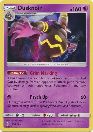 85/236 Dusknoir Rare Holo Cosmic Eclipse - The Feisty Lizard Melbourne Australia
