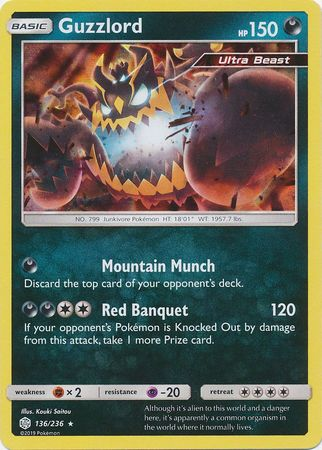 136/236 Guzzlord Rare Holo Cosmic Eclipse - The Feisty Lizard Melbourne Australia