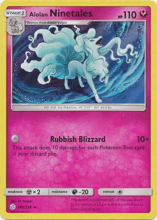 145/236 Alolan Ninetales Rare Holo Cosmic Eclipse - The Feisty Lizard Melbourne Australia