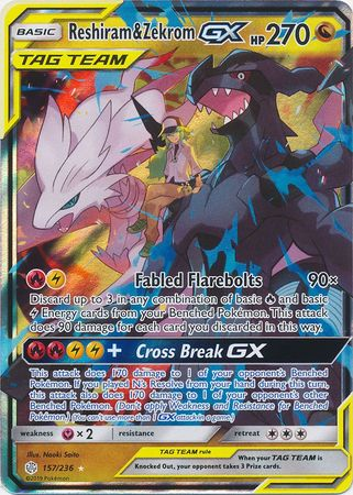 157/236 Reshiram & Zekrom GX Tag Team Ultra Rare Cosmic Eclipse - The Feisty Lizard Melbourne Australia