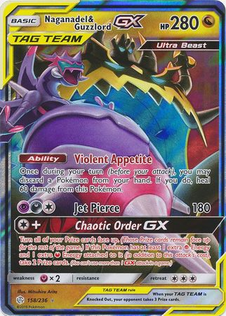 158/236 Naganadel & Guzzlord GX Tag Team Ultra Rare Cosmic Eclipse - The Feisty Lizard Melbourne Australia
