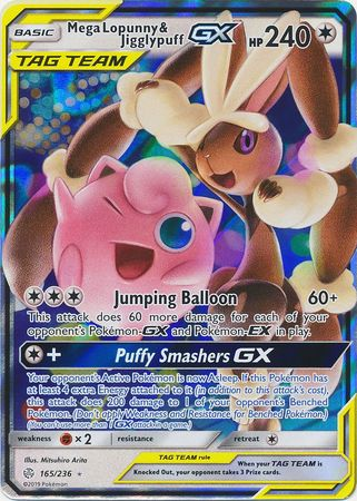 165/236 Mega Lopunny & Jigglypuff GX Tag Team Ultra Rare Cosmic Eclipse - The Feisty Lizard