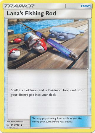 195/236 Lana's Fishing Rod Uncommon Trainer Cosmic Eclipse - The Feisty Lizard Melbourne Australia