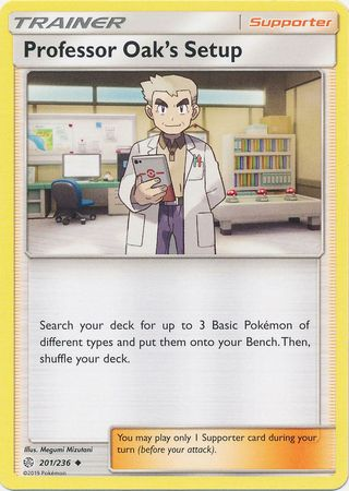 201/236 Professor Oak's Setup Uncommon Trainer Cosmic Eclipse - The Feisty Lizard Melbourne Australia