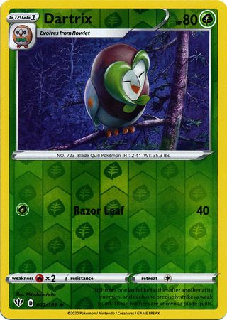 012/189 Dartrix Uncommon Reverse Holo Darkness Ablaze - The Feisty Lizard