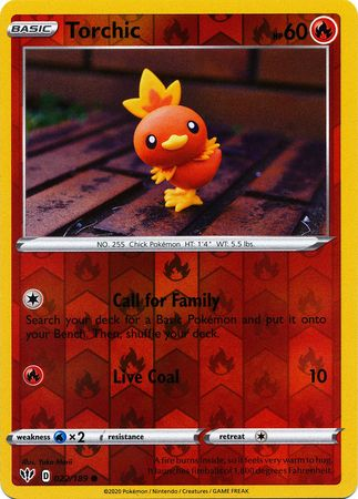 022/189 Torchic Common Reverse Holo Darkness Ablaze - The Feisty Lizard