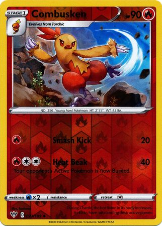 023/189 Combusken Uncommon Reverse Holo Darkness Ablaze - The Feisty Lizard
