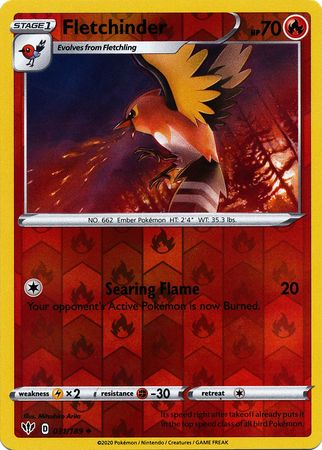 031/189 Fletchinder Uncommon Reverse Holo Darkness Ablaze - The Feisty Lizard