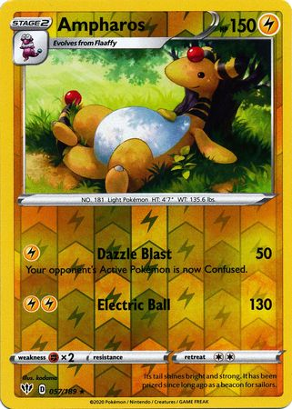 057/189 Ampharos Rare Reverse Holo Darkness Ablaze - The Feisty Lizard