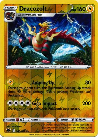 065/189 Dracozolt Rare Reverse Holo Darkness Ablaze - The Feisty Lizard