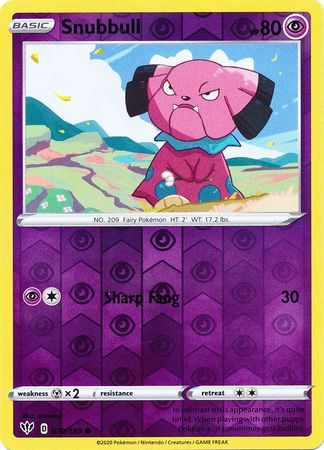 070/189 Snubbull Common Reverse Holo Darkness Ablaze - The Feisty Lizard