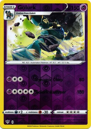 077/189 Golurk Rare Reverse Holo Darkness Ablaze - The Feisty Lizard