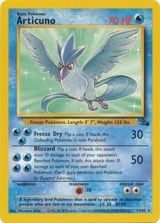 17/62 Articuno Rare Fossil Set Unlimited - The Feisty Lizard