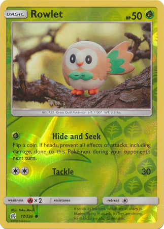 17/236 Rowlet Common Reverse Holo Cosmic Eclipse - The Feisty Lizard