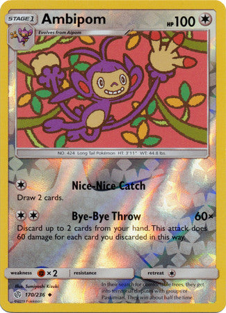 170/236 Ambipom Uncommon Reverse Holo Cosmic Eclipse - The Feisty Lizard Melbourne Australia