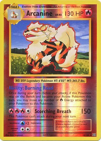 18/108 Arcanine Rare Reverse Holo XY Evolutions - The Feisty Lizard Melbourne Australia
