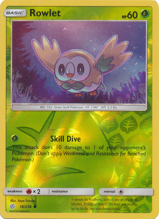 18/236 Rowlet Common Reverse Holo Cosmic Eclipse - The Feisty Lizard