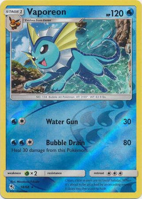 18/68 Vaporeon Holo Rare Reverse Holo Hidden Fates - The Feisty Lizard