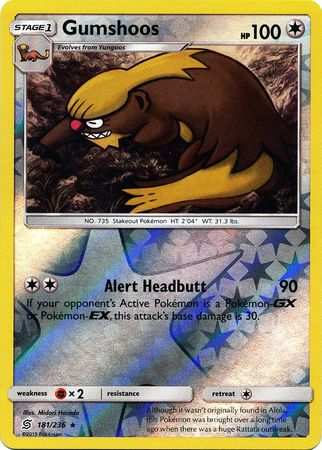 181/236 Gumshoos Rare Reverse Holo - The Feisty Lizard