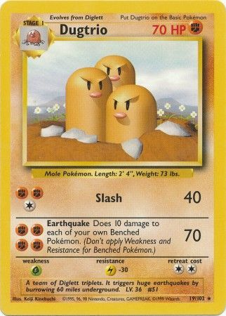 19/102 Dugtrio Rare Base Set Unlimited - The Feisty Lizard