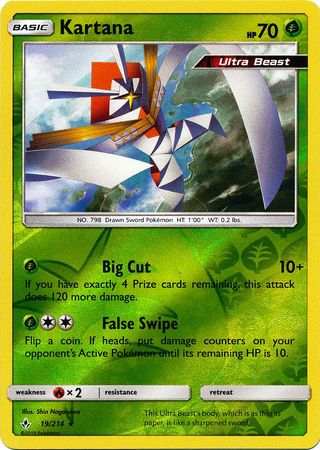 19/214 Kartana Holo Rare Reverse Holo Unbroken Bonds - The Feisty Lizard