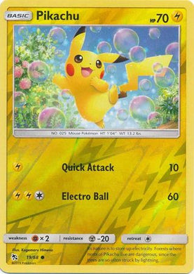 19/68 Pikachu Common Reverse Holo Hidden Fates - The Feisty Lizard
