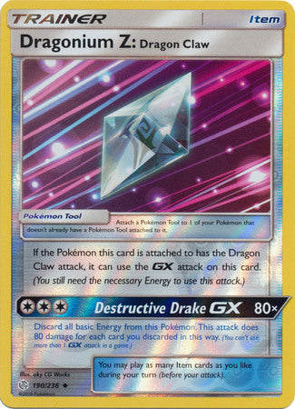 190/236 Dragonium Z: Dragon Claw Uncommon Trainer Reverse Holo Cosmic Eclipse - The Feisty Lizard Melbourne Australia