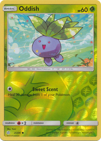 2/236 Oddish Common Reverse Holo Cosmic Eclipse - The Feisty Lizard