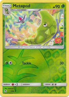 2/68 Metapod Uncommon Reverse Holo Hidden Fates - The Feisty Lizard
