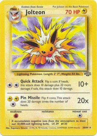 20/64 Jolteon Rare Jungle Set Unlimited - The Feisty Lizard Melbourne Australia