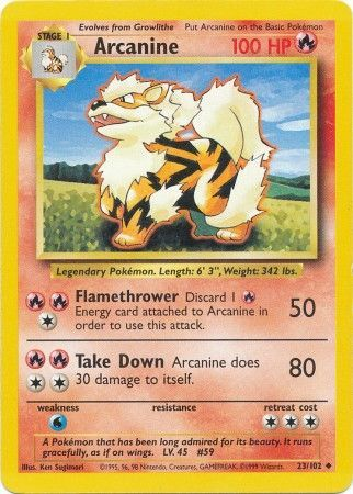 23/102 Arcanine Uncommon Base Set Unlimited - The Feisty Lizard
