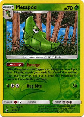 3/214 Metapod Uncommon Reverse Holo Unbroken Bonds - The Feisty Lizard