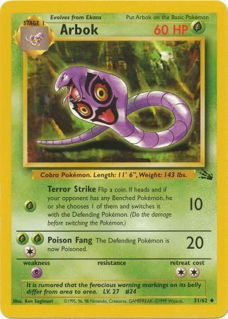 31/62 Arbok Uncommon Fossil Set Unlimited - The Feisty Lizard
