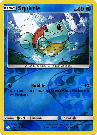 33/214 Squirtle Common Reverse Holo Unbroken Bonds - The Feisty Lizard