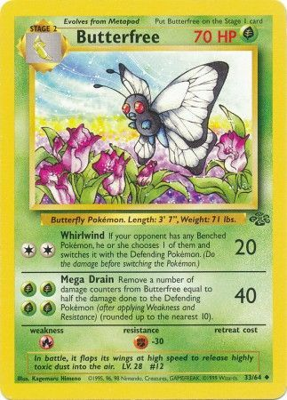 33/64 Butterfree Uncommon Jungle Set Unlimited - The Feisty Lizard Melbourne Australia