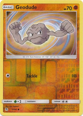 33/68 Geodude Common Reverse Holo Hidden Fates - The Feisty Lizard