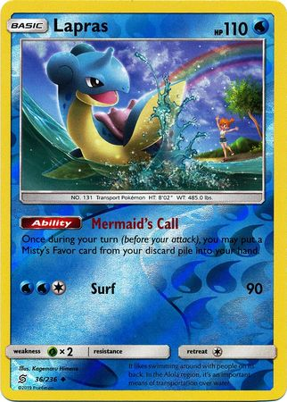 36/236 Lapras Uncommon Reverse Holo - The Feisty Lizard