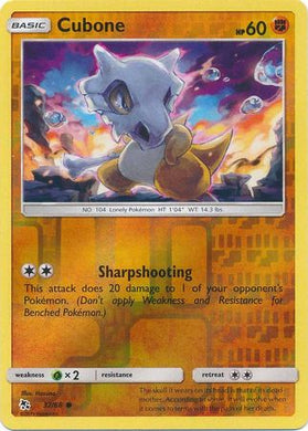 37/68 Cubone Common Reverse Holo Hidden Fates - The Feisty Lizard