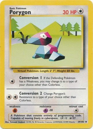 39/102 Porygon Uncommon Base Set Unlimited - The Feisty Lizard