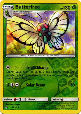 4/214 Butterfree Rare Reverse Holo Unbroken Bonds - The Feisty Lizard