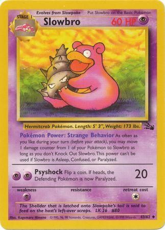 43/62 Slowbro Uncommon Fossil Set Unlimited - The Feisty Lizard